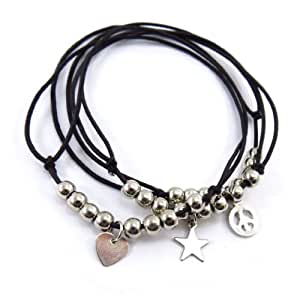 'french touch' bracelet 'Peace And Love' black.
