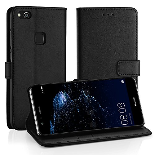 Simpeak Ersatz Huawei P10 Lite Leder Hülle, Flip Wallet Case Cover Ersatz Huawei P10 Lite[Kartensteckplätze] [Stand Feature] [Magnetic Closure Snap],Schwarz