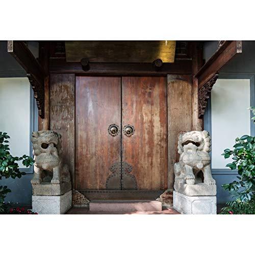 OERJU 1,5x1m Chinesisches Gebäude Hintergrund Chinesische traditionelle Villa Holztür Fotografie Chinesisch Alt alt Antiker Holzrahmen Hintergrund Porträt Exotischer Stil Foto Studio Requisiten -