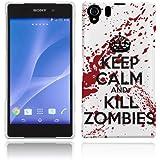 Etui de créateur pour Sony Xperia Z2 - Etui / Coque / Housse de protection blanc en Plastique Rigide (arrière rigide) avec motif Keep Calm and Kill Zombies (blanc et rouge)