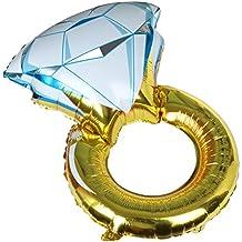TRIXES Gran Globo Inflable Forma Anillo de Compromiso Dorado y Azul Divertido para Celebración Boda Fiesta