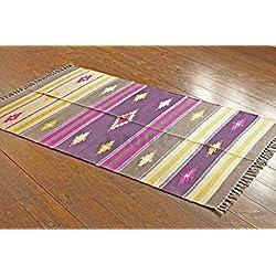 Alfombra de tejido reversible tejido 100% algodón orgánico con tintes vegetales. Estampado a rayas multicolor. Tapete. Medidas: 90x150 , Code # 0463