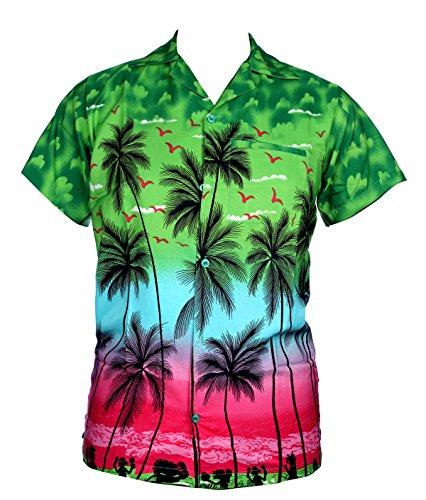 SAITARK - Camisa casual - Floral - para hombre Multicolor verde Small
