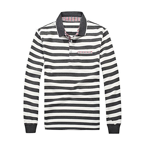 semen Herren Polo Shirt Langarmshirt gestreift shirts Sport Freizeit Baumwolle Regular Fit Rundhal Jersey Top im Rugby-Style Pullover Basic (Polo-shirt Grau Gestreiftes)