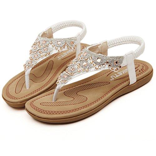 Fortuning's JDS Il nuovo arrivo dolce infradito scintillanti sandali piani per le donne e le ragazze Bianco