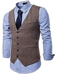 YCUEUST Chaleco Hombre Casual Retro Tweed Boda Negocio Sin Mangas Trajes y  Blazers Chalecos 82116dbff8f5
