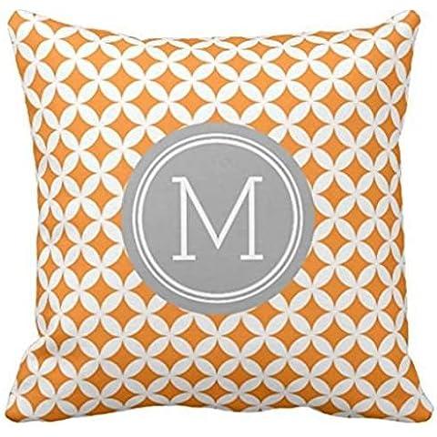 Orange Grey Circles Monogram Decorative Pillow case2222