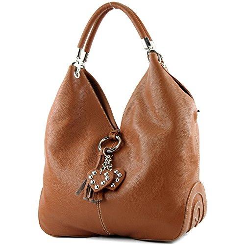 modamoda de - ital. Ledertasche Handtasche Shopper Damentasche Schultertasche Leder 330, Präzise Farbe:Cognac (Stoff Cognac Handtaschen)