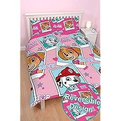 Nickelodeon Juego de cama con funda nórdica con diseño de la Patrulla Canina, con Spy, Chase, Marshall, Skye, para niños y niñas, Stars - Skye, Everest, Marshall, Doublé