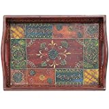 APKAMART Handcrafted Multicolour Wooden Tray - 11 Inch - Serving Tray for Utility and Table Decor