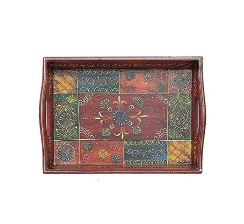APKAMART Handcrafted Multicolour Wooden Tray - 11 Inch - Serving Tray for...