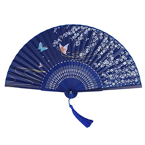 QIMEI-SHOP Abanico de la Mano,Ventilador plegable de seda de bambú para el...