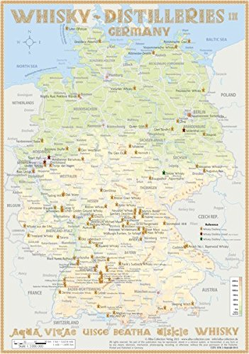 Whisky Distilleries Germany - Tasting Map 24x34cm: Laminierte Landkarte der Whisky-Destillerien in Deutschland
