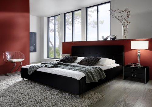 SAM® Polsterbett 140 x 200 cm in schwarz, Bett mit gepolstertem Kopfteil im abgestepptem Design und pflegeleichter Oberfläche, stilvolle Chromfüße, Bettgestell auch als Wasserbett verwendbar [521320]