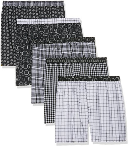 Hanes Men's 5-Pack Inside Exposed Waistband Woven Boxers, Assorted, Large (Woven Hanes Boxer)