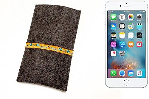 """flat.design Filzhülle """"Lisboa"""" für Apple iPhone 6s Plus - passgenaue Handytasche aus 100% Wollfilz (anthrazit) - made in Germany Schutz Case für Apple iPhone 6s Plus Eichhörnchen - anthrazit"""