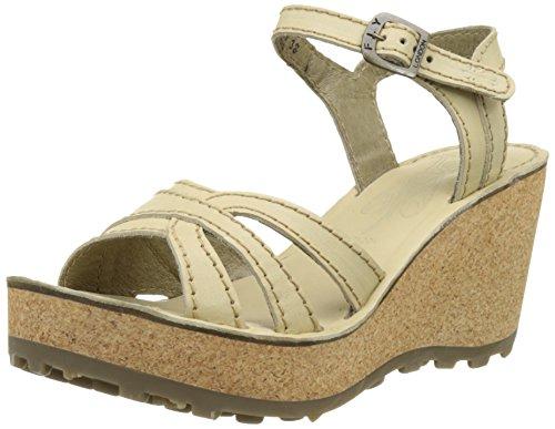 FLY London Gort645, sandales compensées  Femme Blanc Cassé (Cream 010)