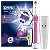 Oral-B Pro 2500 3D White Electric Rechargeable Toothbrush with Travel Case Powered by Braun - Pink - Ships with a UK 2 pin plug