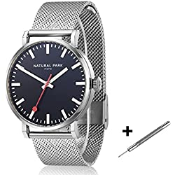 Men Dress Casual Watches with Black Dial Stainless Steel Mesh Bracelet