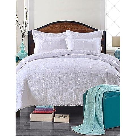 YangR*100% cotone bianco floreale Copriletto Trapuntato set, dimensione ,