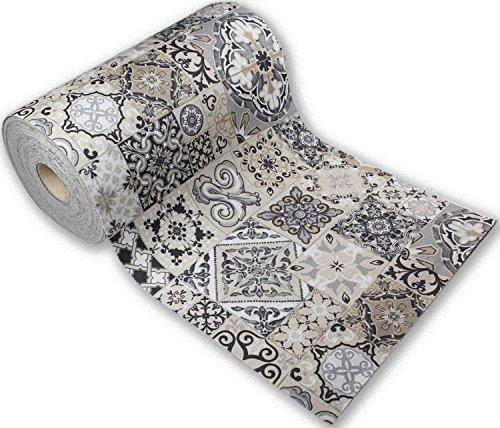 Passatoia tappeto runner da cucina fronte in poliestere e retro in pvc antiscivolo flessibile stampa digitale made in italy larghezza 52 cm lunghezza 300 cm dis. mattonelle