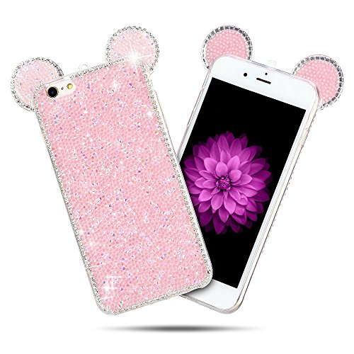 Coque iPhone 6 / 6S (5.0 pouce) , Bling Diamant Modèle TPU Case Rose Crystal Mignon Mickey Oreille Étui de Protection Flexible Soft Slim Souple Silicone Cover Anti Choc Ultra Mince Couverture Bumper Caoutchouc Gel Anfire Housse pour iPhone 6S