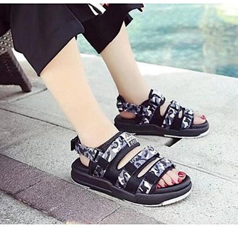 Las mujeres 039 s sandalias confort confort informal de Verano de tela gris negro rubí FlatGrayUS7.5 UE38 UK5.5...
