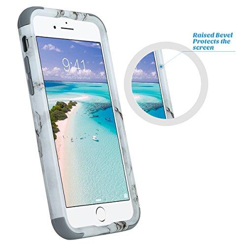 iPhone 7 hülle, ULAK iPhone 7 hülle Abdeckung Luxus 3in1 Hybrid High Impact Weiche Silikon Shockproof Hard PC Fall Deckung für iPhone 7 4,7 Zoll - Roségold Marmor