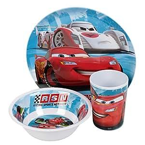 Set 3 Pieces Melamine Cars Disney Assiette Verre Bol Enfant Garcon