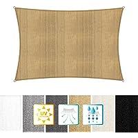 Lumaland toldo vela de sombra 100% polietileno de alta densidad filtro UV incl cuerdas nylon 2x3 arena