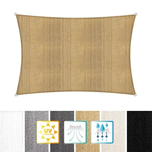 Lumaland toldo vela de sombra 100% polietileno de alta densidad filtro UV incl cuerdas nylon 3x3x3 arena