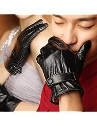 Gants en cuir d'hiver pour les hommes minces de conduite plus d'écran tactile rembourré de velours gants en peau de couple,L,UN