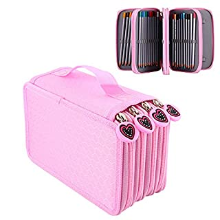 Yosoo 72 pièces couleurs crayon stylo affaire sac pochette stationnaire avec grande capacité Oxford multicouche crayon organisateur (rose)