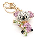 Cooplay Lovely Koala Bear Animal Diamond Crystal Rhinestone Gold Crystal Keychain Charm Pendent Beautiful Accessories the Best Gift for Girls Women Wallets Purse Handbag Bag Keyrings (Pink)