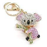 Cooplay Cute Fashion rose belle Koala Bear Animal diamant strass or breloque porte-clés en cristal pendentif pour femme fille sac à main sac à main portefeuilles sac porte-clés charme cadeau