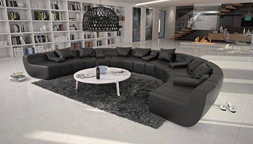 SalesFever Große Wohn-Landschaft mit Kunstleder Bezug schwarz 400x265 cm U-Form | Terassi-U | Moderne Sofa-Garnitur XXL mit Kunstleder | Polster-Couch für Wohnzimmer schwarz 400cm x 265cm
