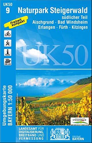 Naturpark Steigerwald südlicher Teil 1 : 50 000: Aischgrund, Bad Windsheim, Erlangen, Fürth, Kitzingen. Mit Wanderwegen. Mit Radwanderwegen. Mit ... Karte Freizeitkarte Wanderkarte)