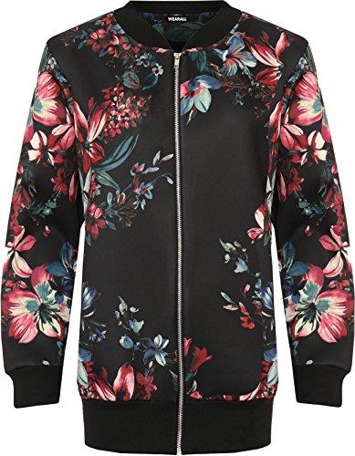 wearall-femmes-plus-floral-imprimer-bombardier-veste-dames-loungeue-manche-fermeture-eclair-equipage