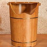 HUDEMR Pediluvio Barrel Wooden Barrel pediluvio Barrel Piede Benna accresciuta con Il Coperchio a Pedale idromassaggio in Legno Massiccio a Pedale Secchio Brown Piedi Benna