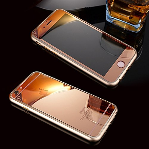 Kapa Electroplated Mirror Front + Back Tempered Glass Screen Protector for iPhone 6 PLUS / 6S PLUS - Rose Gold
