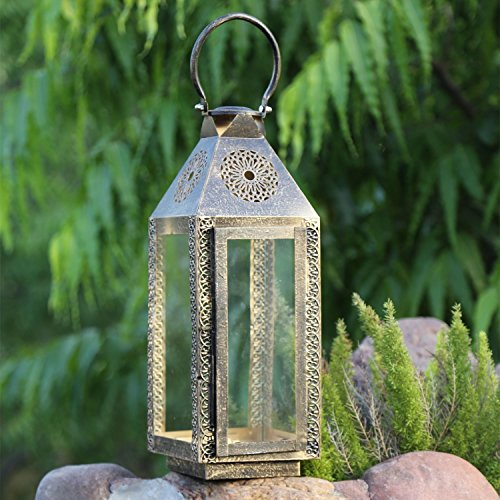 een Geschenk Handarbeit Dekorative Copper Finish Outdoor Lampe Windlicht Kerzenhalter Weihnachten Geschenk (Wow-lichter Halloween)