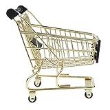 Homyl Kinder Kaufläden Rollenspielzeug - Mini Supermarkt Einkaufswagen Einkaufskorb aus Metall & Kunststoff - Golden, # B