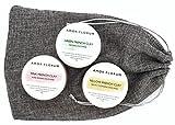MASQUES de ARGILE ROSE (175g), ARGILE VERTE (175g) ARGILE JAUNE (175g) - par AMOR FLORUM. Argiles qui absorbent les impuretés de la peau, avec beurre de karité, d'huile de macadamia et de vitamine E.