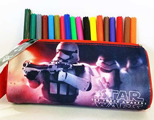 Estuche rectangular escolar STAR WARS The force awakens (Disney) 100% polyester, cremallera de metal (20 x 8 x 6 cms) + 18 rotuladores multicolores