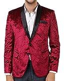 Men In Class Maroon Colour Self Velvet Regular Fit Tuxedo Party Wear Men's Blazer