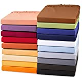 Exclusives Stretch Spannbettlaken für Wasserbetten & Boxspringbetten | Spannbetttuch Jersey Qualität feinste Mako-Baumwolle mit Elastan für hohe Matratzen | 180 x 200 - 200 x 220 cm | aqua-textil 0010761 | schnee-weiß