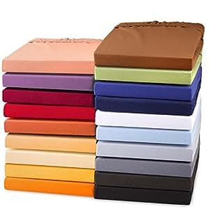 Exclusives Jersey Stretch Qualitäts Spannbettlaken 90x200 - 100x220 für Boxspringbetten, Wasserbetten und herkömmliche Matratzen, Baumwolle Elasthan Spannbetttuch, aqua-textil 0010730 silber-grau