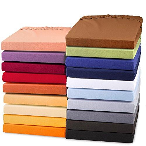 Exclusives Jersey Stretch Qualitäts Spannbettlaken 200x220 - 220x240 für Boxspringbetten, Wasserbetten und herkömmliche Matratzen, Baumwolle Elasthan Spannbetttuch, aqua-textil 1000813 dunkel-grau