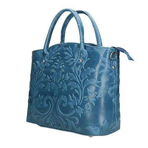 Aclaramiento De Precios Al Por Mayor Salida Fiable Chicca Borse Handbag Borsa a Mano da Donna in Vera Pelle Made in Italy - 35x28x11 Cm Blu jeans Uj1coTC