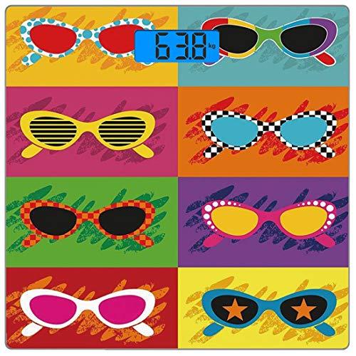 Precision Digital Body Weight Scale 70er Jahre Partydekorationen Ultra Slim Gehärtetes Glas Personenwaage Genaue Gewichtsmessungen, Pop-Art-Stil Sonnenbrillen Lebendige Bunte Kombination Summer Fun De